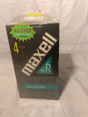 Maxell GX-Silver High Quality T-120/246m  6 Hour VHS 4 Pack black Magnetite