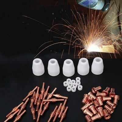 55pcs Plasma Cutter Extended Electrode Nozzle Shield Cup Gas Ring for PT31 Torch