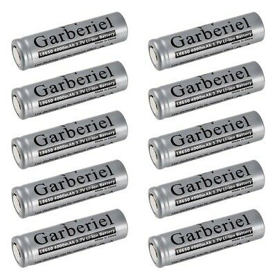 10pcs 18650 Battery 4000mah Rechargeable 3.7 Li-ion Flat Top Head Cell For Torch