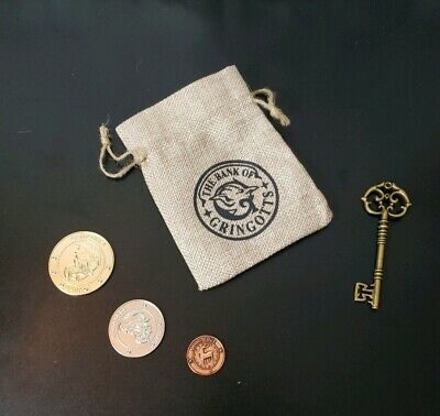 Harry Potter Hogwarts Gringotts Bank 3 Galleons, Gringotts Key Replica & Bag SET