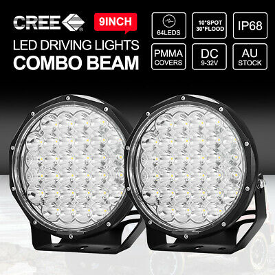 PAIR 9inch CREE LED Driving Lights Round Spotlights Offroad 4x4 BLACK 12V 24V