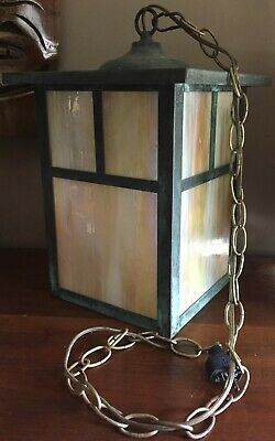 Outside Porch Vintage Hanging Swagl Lamp Light Stained Glass Mission Style Old