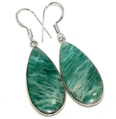 E33483 Amazonite 925 Sterling Silver Plated Earrings 2.1""