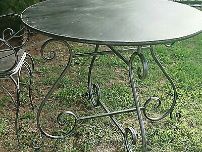 FRENCH GARDEN  BISTRO TABLE WROUGHT IRON OUTDOOR black/silver NEW
