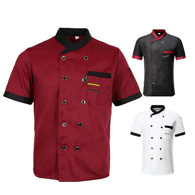 Unisex Hotel Dining Hall Chef Uniforms Button Short Sleeve T-shirt Tops For Cook