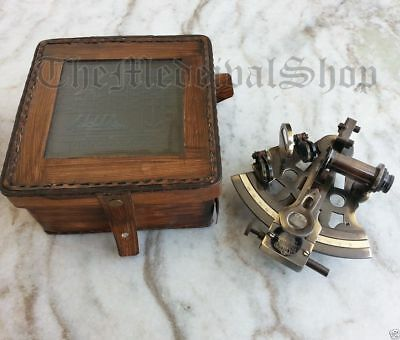 "Nautical Marine Brass Sextant Working Astrolabe Ship Item 4"" With Leather Box"