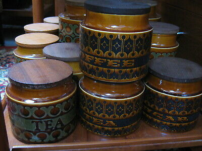 6 Retro Hornsea Pottery storage jars, vintage 1970s Bronte & Heirloom Northants