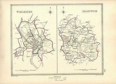 Antique Map ~ COUNTY ELECTION for DROITWICH & WORCESTER ~ 1835