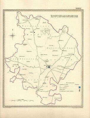 Antique Map ~ COUNTY ELECTION for HUNTINGDONSHIRE ~ 1835