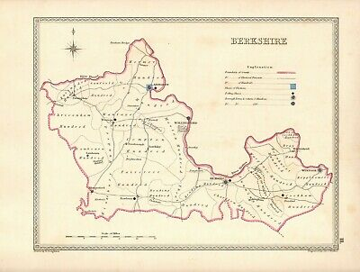Antique Map ~ COUNTY ELECTION for BERKSHIRE ~ 1835