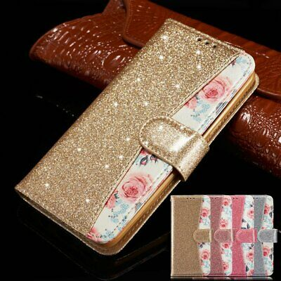 Luxury Bling Glitter Leather Flip Wallet Phone Case Cover for iPhone 6s 5 7 8 XR