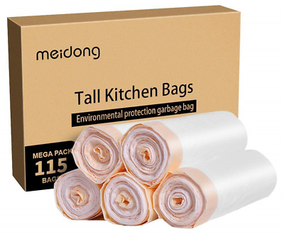 Meidong Bin Bags 50L Bin Liners Trash Bags Garbage Bags Strong Large Unscented 5