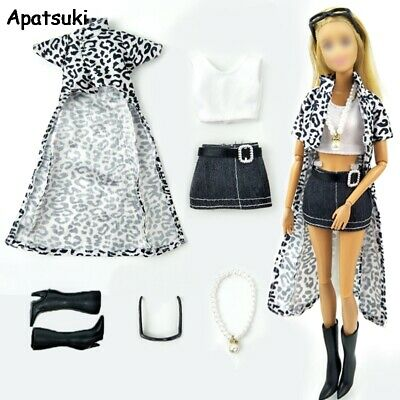 1set Doll Outfits For Barbie Doll Clothes For Barbie Leopard Long Coat Vest
