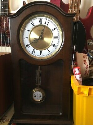H Samuel Wooden Cased Pendulum Wall Clock Quartz Movement Working
