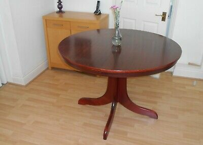 Mahogany Extending Pedestal Dining Table & 4 Solid Fabric Covered Padded Chairs
