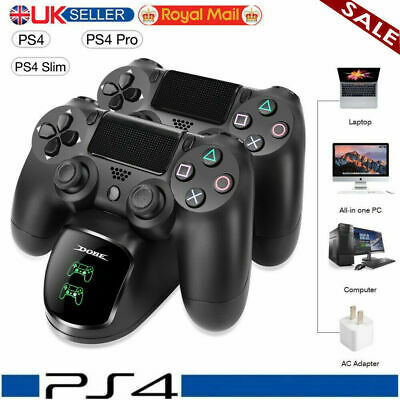 PS4 Dual Controller Charger LED Fast Charging Dock Station Stand Dualshock UK