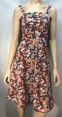 Vintage Floral Polyester Sun Dress - Size 38 (Small)