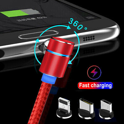 1-2M 360° Magnetic L-Shape Micro USB Type C IOS Charger Cable For iPhone Samsung