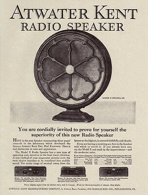 "ATWATER KENT Antique 1927 Radio SPEAKER Fan TYPE Model Prices 8.5x11"" REPRINT AD"