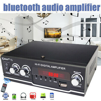 Portable Black BT Power Music Stereo Receiver Home Audio Amplifier