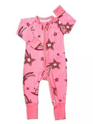 Baby Bonds Wish Upon A Star Pink Zippy Zip Wondersuit, Size 2, Bnwts