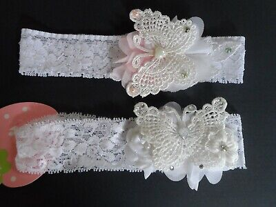 baby lace headbands/hair garlands white/ pink/red/gold christening,flowergirl