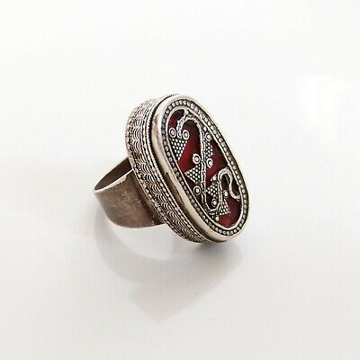 VINTAGE KAZAKH ETHNIC Traditional Old Silver Tribal Ring size 8.5 US