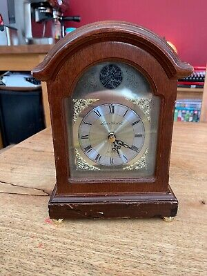 "TEMPUS FUGIT London Clock Company Wooden & Brass 8.5"" Tall MANTLE CLOCK"