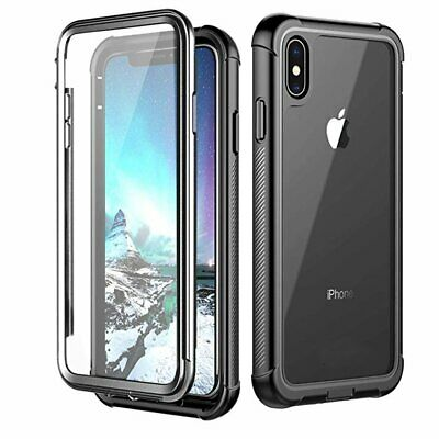 For Apple iPhone XS Max XR Slim Shockproof Case Cover Built-in Screen Protector
