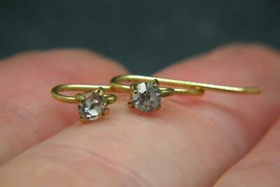 Lovely Tiny Antique Victorian Gilt Metal & Sparkly Paste Earrings