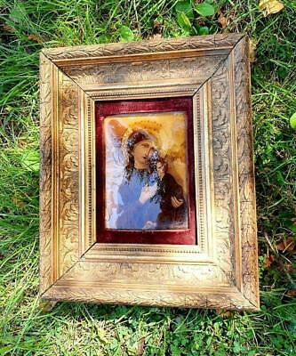 Divine Rare & Beautiful 19thC Antique French Religious Gesso Framed Crystoleum