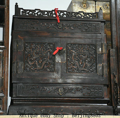 "25"" Old China Huanghuali Wood Dragon Drawer Cupboard Cabinet Classical Furniture"