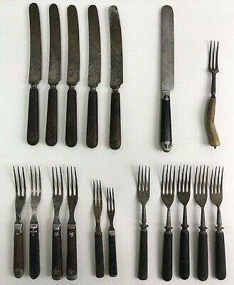 Lot of 18 Antique Civil War-era Knives & Forks: Horn Handle, Rubel Knife, etc.
