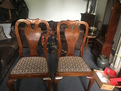 Two Victorian Dining Chairs with Upholstered drop in seats.