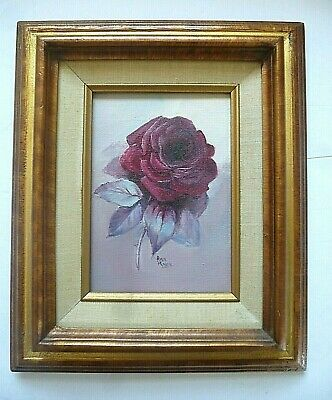 Vintage Small Original Oil Painting ROSE FLOWER FLORAL Nice Wood Frame Signed