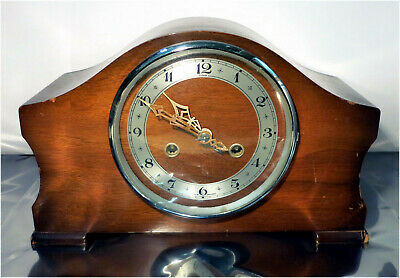 Vintage Enfield Wood Dome Mantle Chiming Clock For Parts