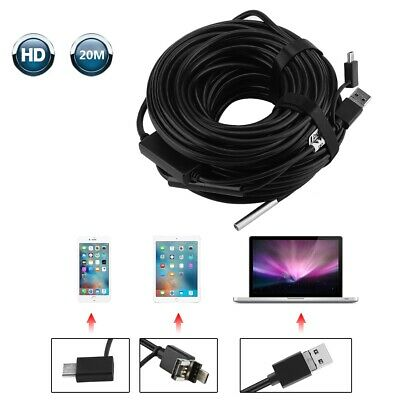 20m 5.5mm USB Endoscope with 720P Waterproof Camera for Pipe Car Inspection UBS