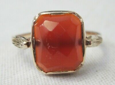 Antique Victorian 9ct Gold Carnelian Faceted Agate Ring Size N