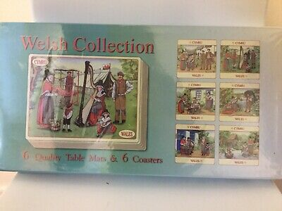 6 Tablemats & Coasters Welsh Collection Welsh Sealed In Original Packaging