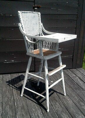 Antique White Wicker High Chair with Fold Up Tray 1900 Era