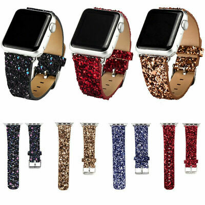 for Apple Watch Bands iWatch Series 5 4 3 2 1 Glitter Bling Leather Band 38/42mm