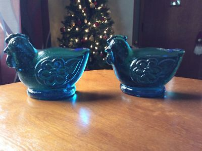Cobalt blue Rooster bookends. Solid glass bookends or paperweights.