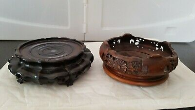 2 Antique Chinese ? Carved Wood Vase Pot Stand
