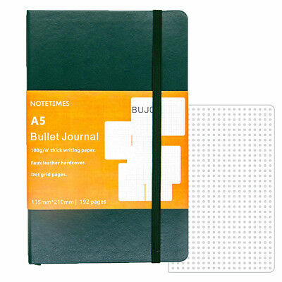 Green Dotted Notebook for Bullet Journal with 2 Washi Tape, A5 Dot Grid Notebook