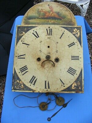 Antique 8 Day Longcase Clock Movement And Dial, Xviii - Xix Century.