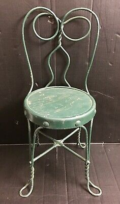 "Vintage Childs Ice Cream Parlor Chair Wrought Iron 22"" Tall"