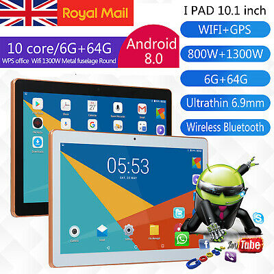 "10.1"" Tablet PC 6G+64G 10 Core Android 8.1 Dual SIM &Camera Wifi Phone Phablet"