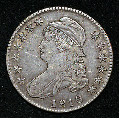 A 1818 Capped Bust Half Dollar O-111 EF XF 50c Silver coin Normal Date