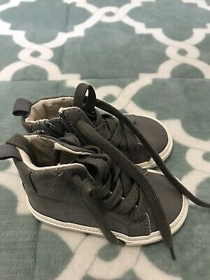 GAP BABY TODDLER BOY Leather / Midland Gray HIGH TOP SNEAKERS SIZE: 5