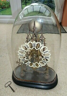 ANTIQUE SKELETON CLOCK & GLASS DOME, FUSEE MOVEMENT, STRIKE Project Needs refurb